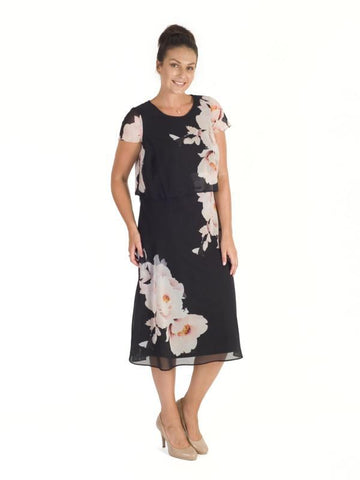 Black/Blush Floral Bloom Placement Print Double Layer Chiffon Dress
