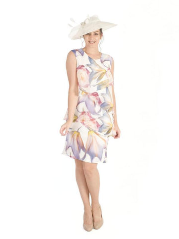 Oriental Layered Lily Print Chiffon Dress