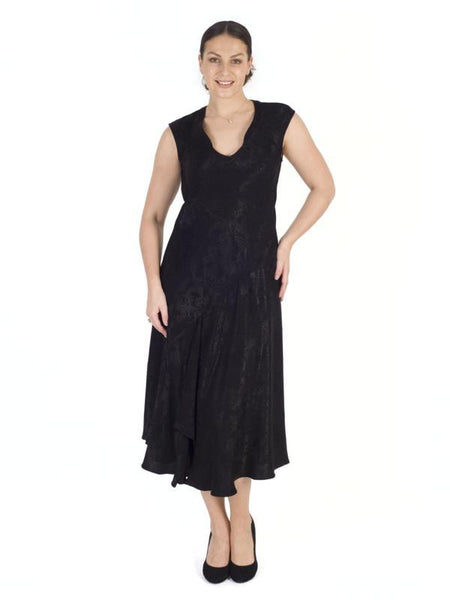Black Satin Back Crepe Jacquard Dress