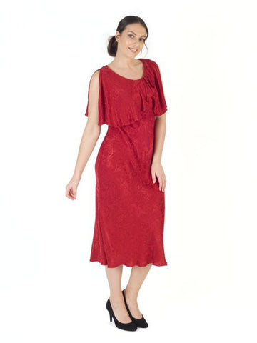 Ruby Cape Trim Satin Back Crepe Jacquard Dress