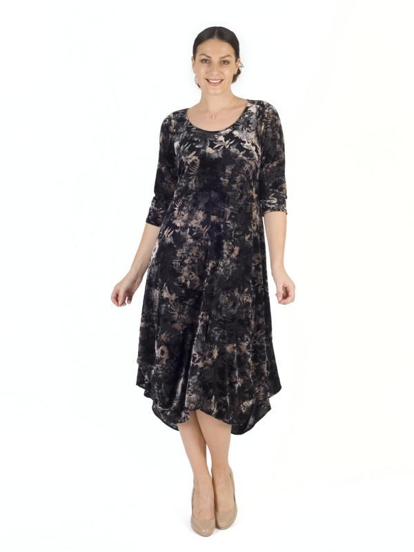 Blk/Oyster Floral Print Velvet Devoree Dress