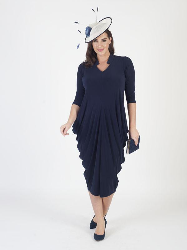 Navy Notch Neck Drape Jersey Dress