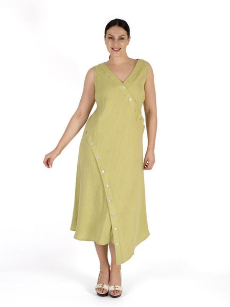 Lime Button Detail Linen Dress