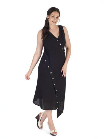 Black Button Detail Linen Dress