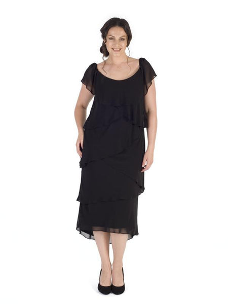 Black Multi Layered Gypsy Chiffon Dress