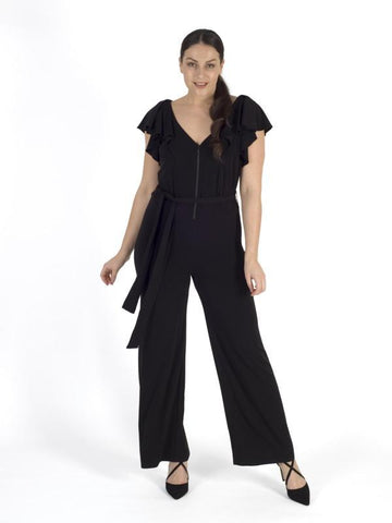 Black Frill Trim Jersey Jumpsuit