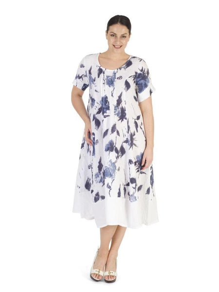 White/Navy Floral Print Pintuck Trim Linen Dress