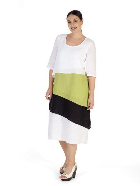 White/Apple/Blck Block Colour Layered Linen Dress