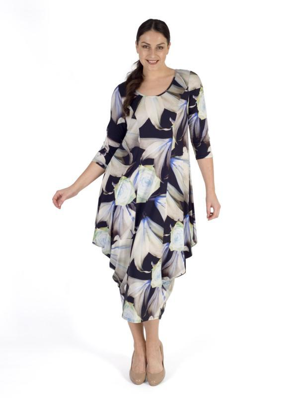 Navy Lily & Rose Print Jersey Dress