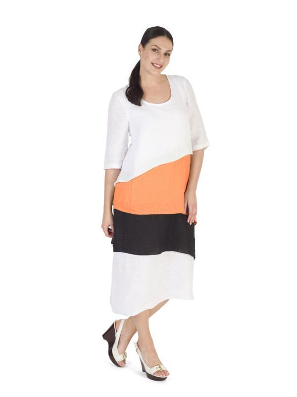 White/Org Block Colour Layered Linen Dress