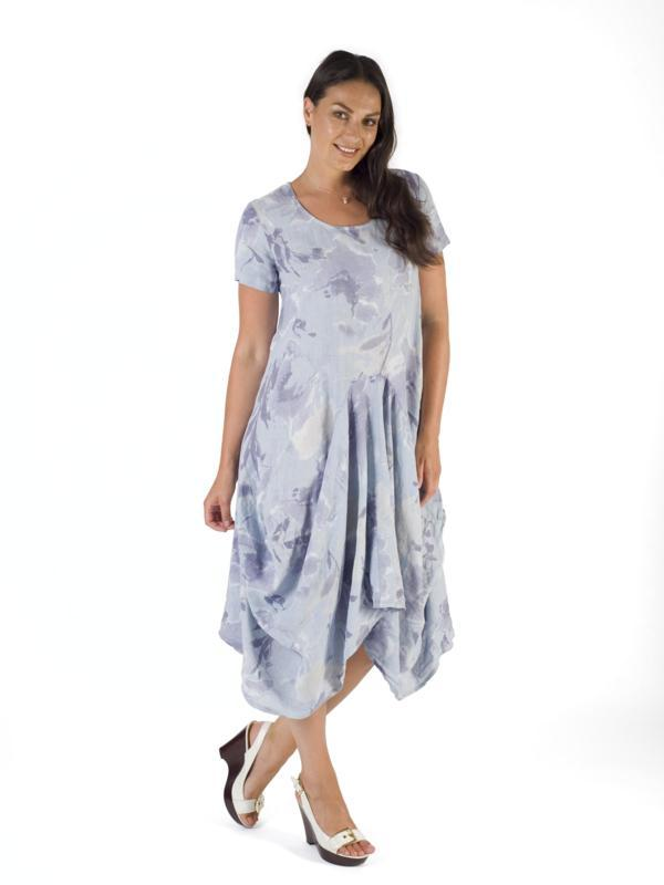 Blue Floral Print Linen Drape Dress
