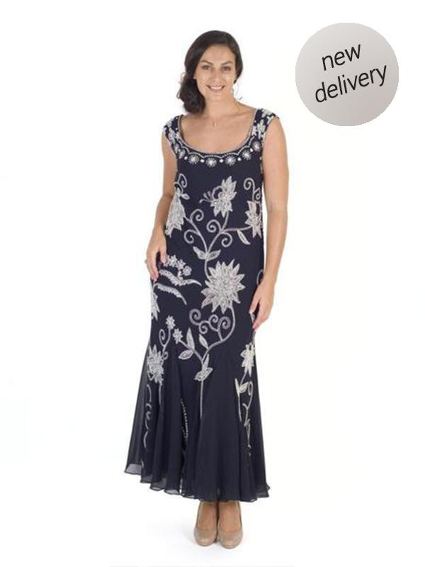 Navy/Ivory Embroidered and Beaded Dress