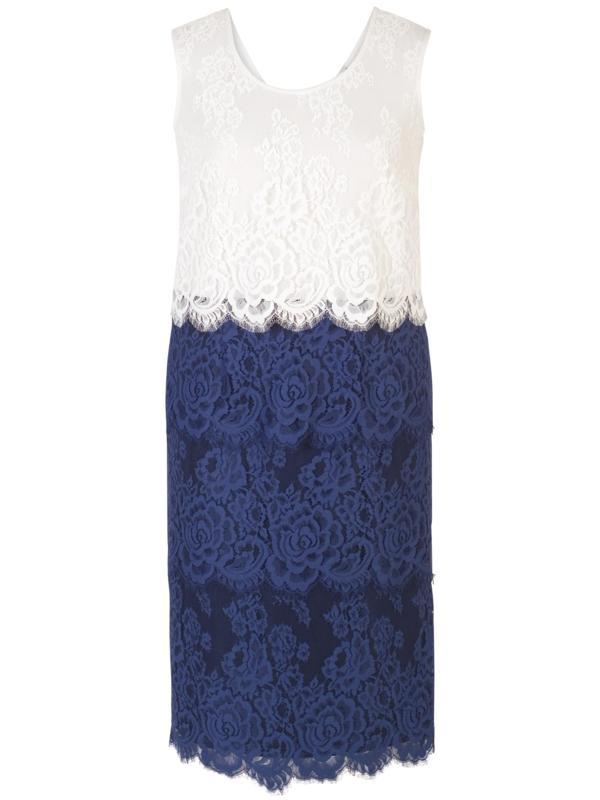 Riviera Eyelash Trim Multi Layer Scallop Lace Dress
