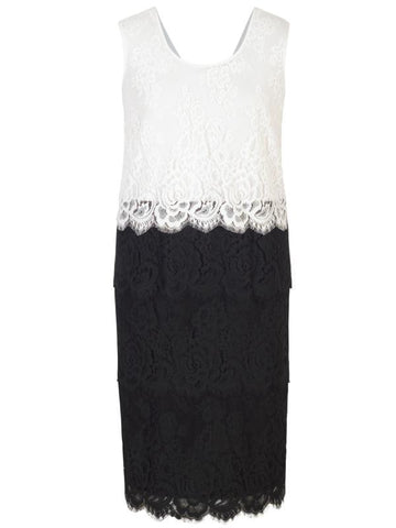 Black Eyelash Trim Multi Layer Scallop Lace Dress
