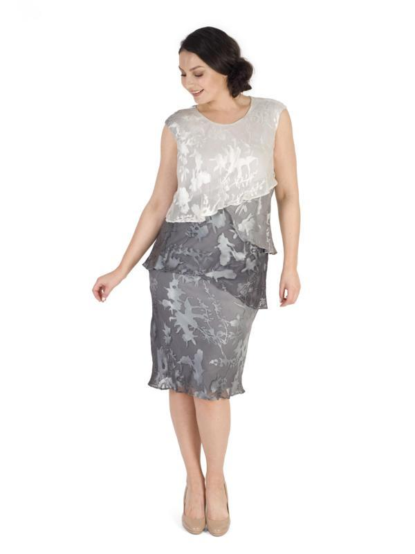 Ivory/Grey Ombre Devoree Multi Layered Dress