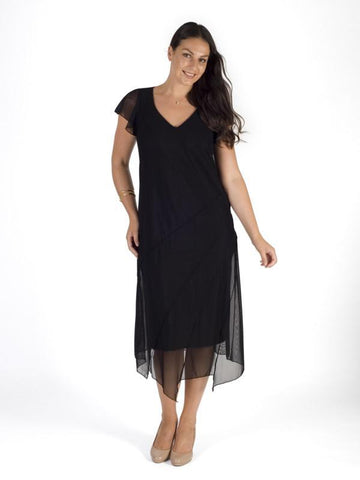 Black Asymmetric Hem & Seam Detail Mesh Dress