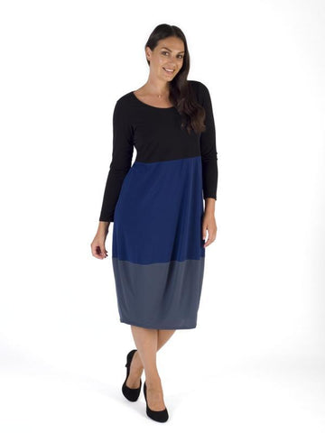 Black/Riviera/Slate Block Colour Jersey Dress