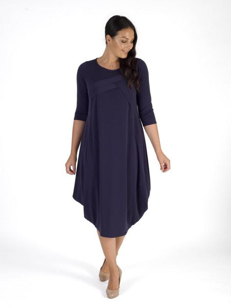 Grape Tuck Detail Jersey Dress