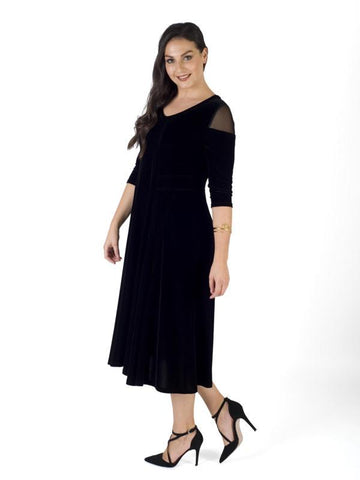 A Black Mesh Shoulder Flared Velvet Dress
