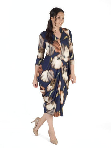A Riviera/Copper Floral Jersey Notch Neck Dress