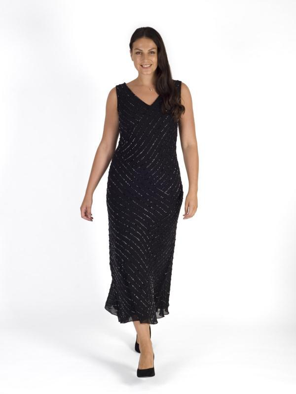 Black/Gunmetal Diagonal Beaded Dress