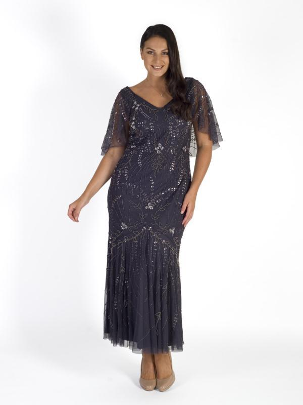 Pewter Cape Trim Beaded Mesh Dress .