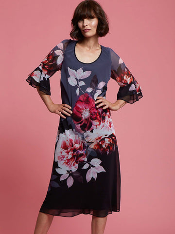 A Hyacinth Floral Dress With Flounce Layered Cuff