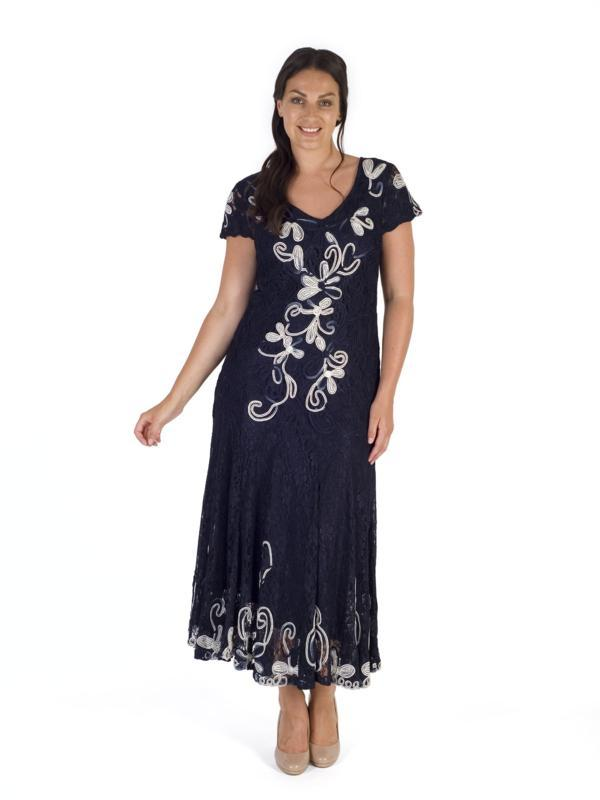 Navy/Ivory Ombre Cornelli Emb Lace Dress