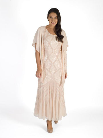 Blush Beaded Mesh Dress