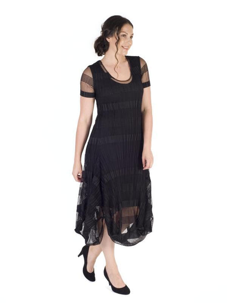 Black Sheer & Stripe Crush Pleat Drape Dress With Lining