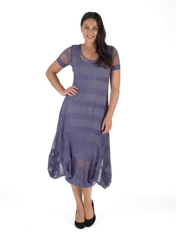 Hyacinth Sheer & Stripe Crush Pleat Drape Dress With Lining