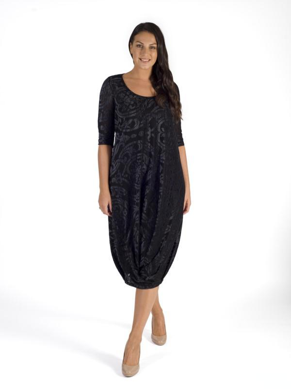 Blk/Silver Foil Print Velvet Burnout Tuck Hem Detail Jersey Lined Dress - PLEASE SEE DESCRIPTION BEFORE ORDERING