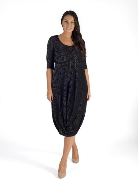 Blk/Silver Foil Print Velvet Burnout Tuck Hem Detail Jersey Lined Dress