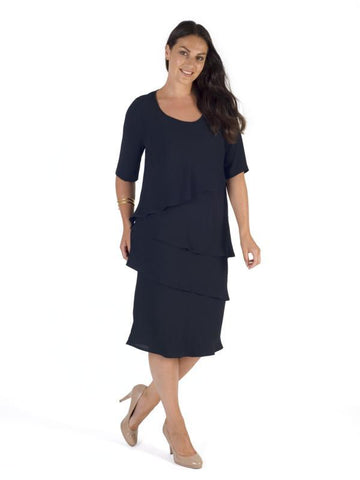 Navy Multi Layered Crepe Dress