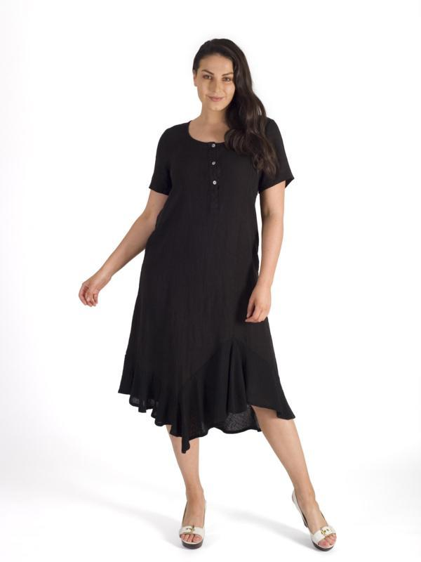 Black Button Placket Hopsack Trim Linen Dress