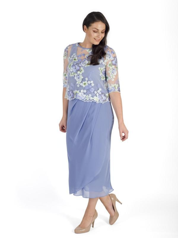 Bluebell  Mock Wrap Chiffon 2 piece Dress With Scallop Trim