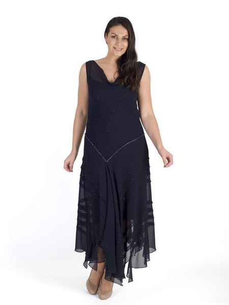 Navy Cowl Neck Bead Stripy Trim Chiffon Dress