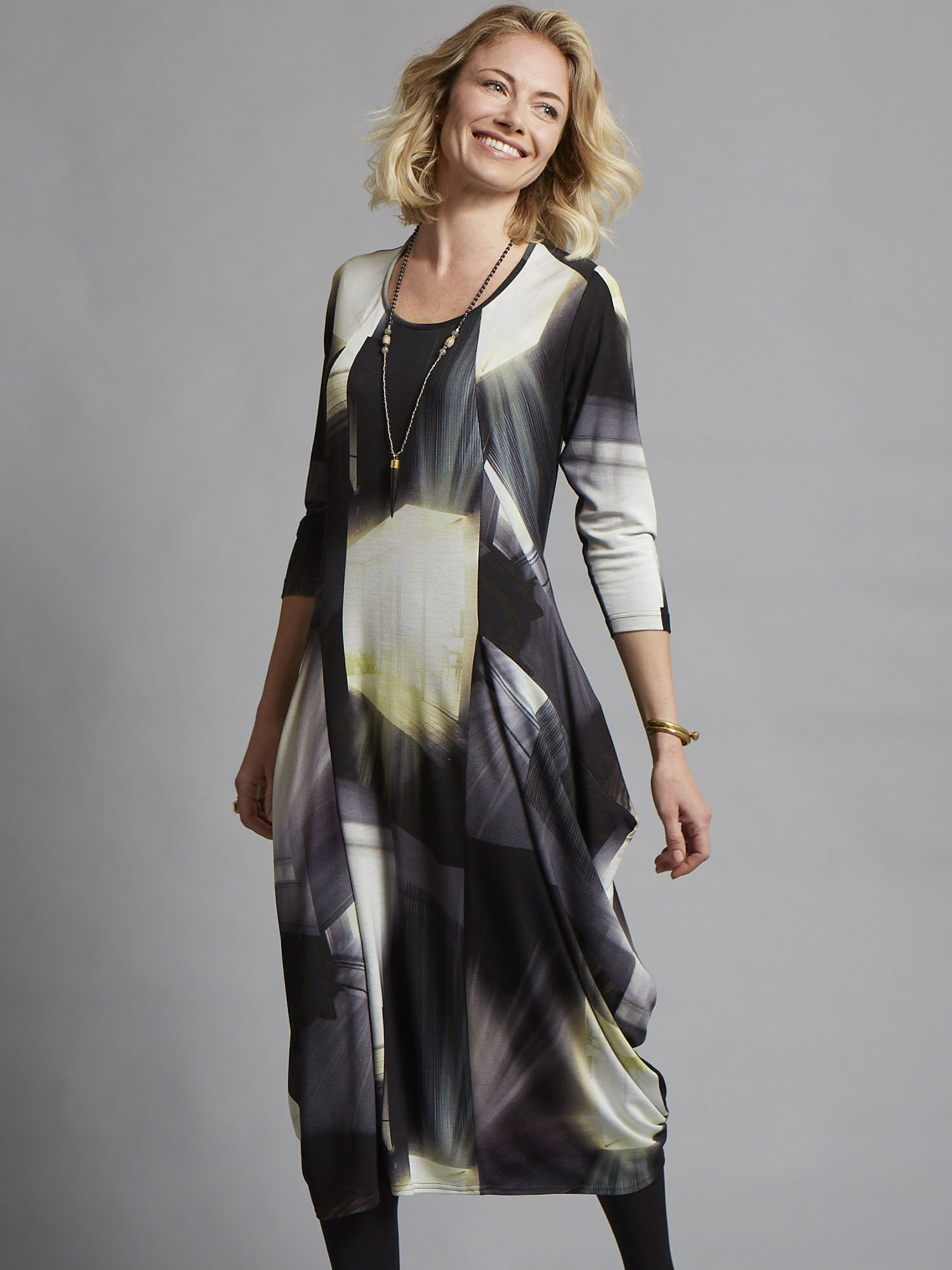 Blk/Lime Abstract Window Pane Print Jersey Dress