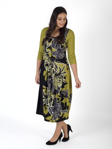Lime/Blk Garland Floral Placement Barrel Jersey Dress