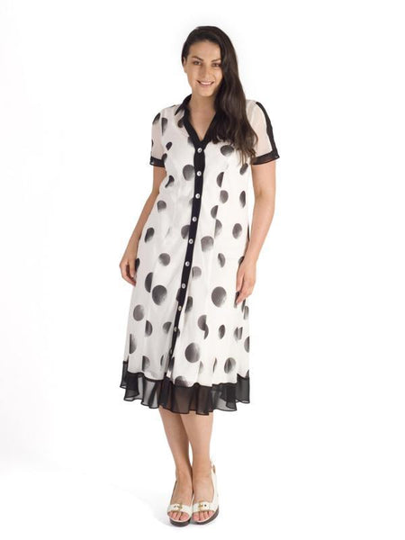 Ivory/Blk Ombre Spot Contrast Trim Chiffon Shirt Dress With Tie Belt