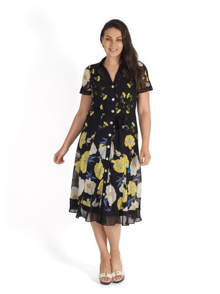 Blk/Yellow Contrast Trim Poppy Border Floral Shirt Dress With Self Tie Belt