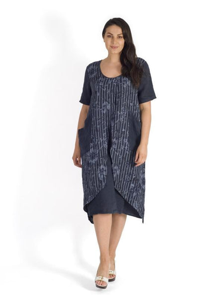 Navy Floral & Stripe Print Wrap Linen Dress