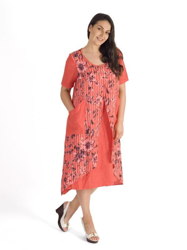Coral Floral & Stripe Print Wrap Linen Dress