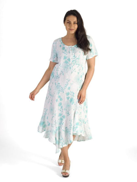White/Jade Button Placket Floral Linen Dress
