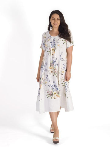 A White Pintuck Detail Floral Print Linen Dress