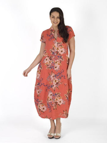 A Coral Stand Collar Japanese Floral Linen Dress