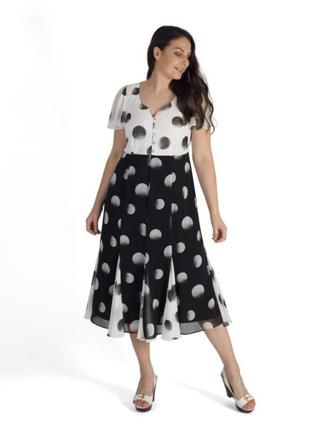 Blk/Ivory Contrast Button Trim Bodice, Slit Panel Ombre Spot Chiffon Dress