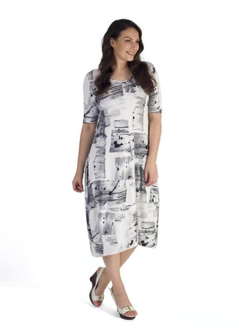 Ivory/Grey Brush Stroke Print Jersey Dress