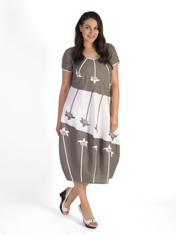 Mocha/White Floral Motif Applique Linen Dress