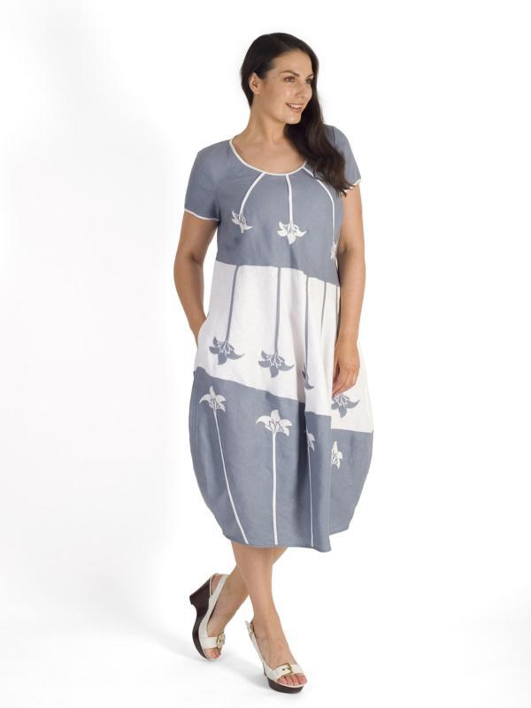 Grey/White Floral Motif Applique Linen Dress